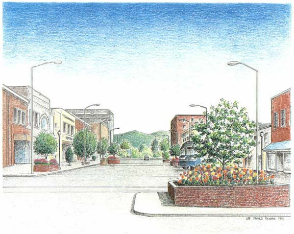 Hendersonville NC, pen & ink drawing by Lee James Pantas
