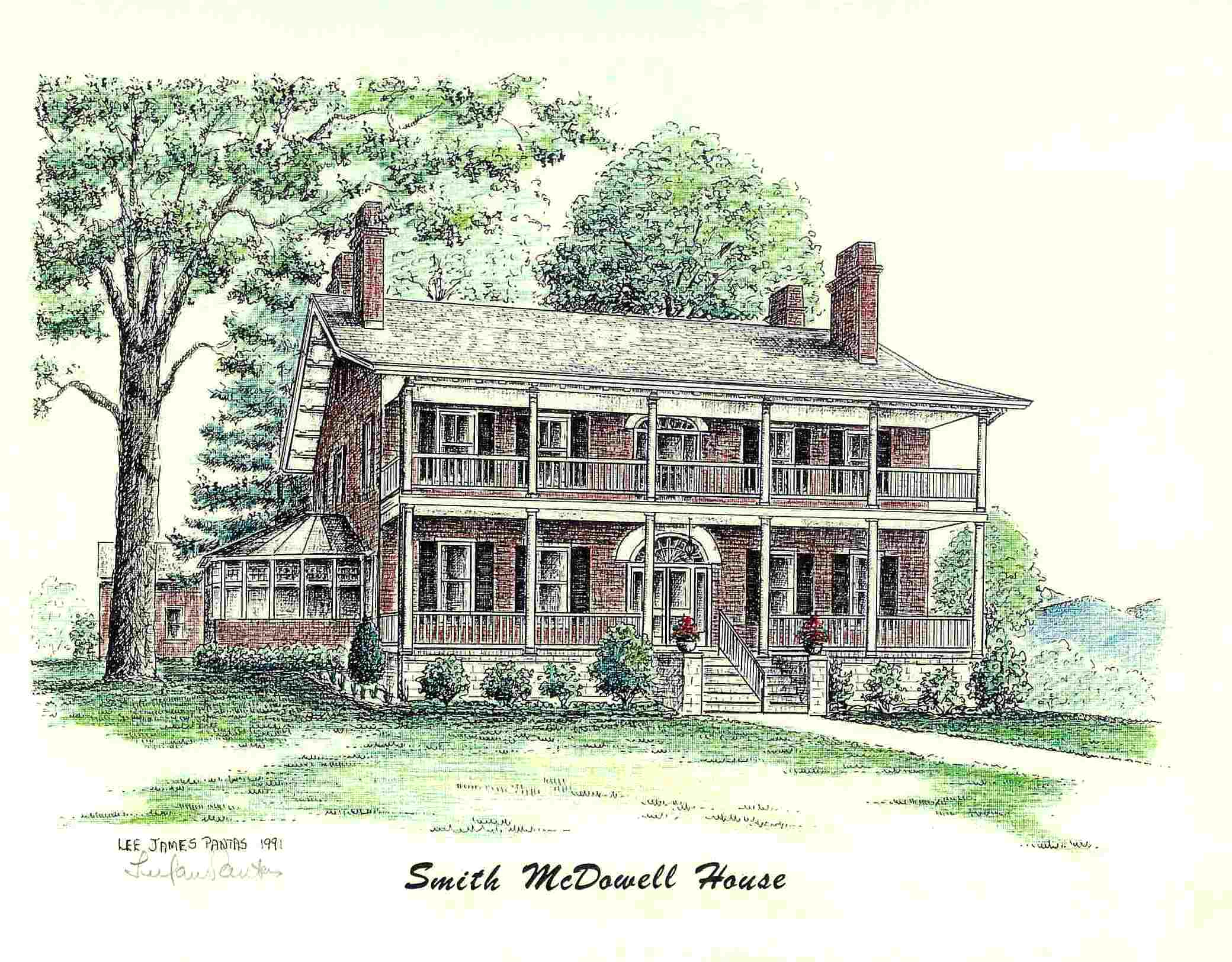 Smith mcdowell house pen ink drawing by lee james pantas
