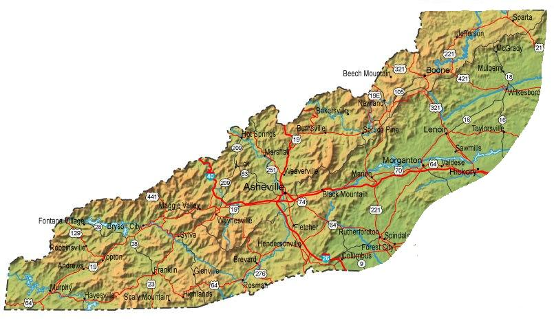 Western Nc Map Western North Carolina cities and towns